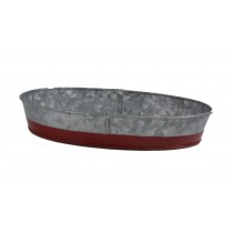 Coney Island Oval Tray Dipped Red Galvanised 270 x 190 x 45mm