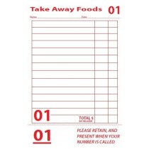 Docket Book Single Takeaway W/Tear Off Strip 165 x 95mm