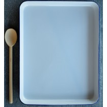 Falcon Enamelware Rectangle Baking Tray 41 x 32 x 3.5cm White/Blue Rim