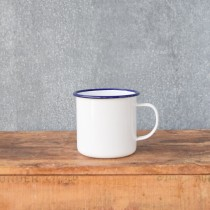 Falcon Enamelware 500ml Mug White/Blue