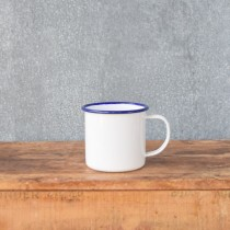 Falcon Enamelware Mug 350ml White/Blue