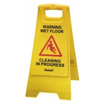 "Sign ""Caution/Cleaning In Progress"" A Frame Yellow"