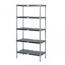 Mantova 5 Tier Post Style Shelving Galvanised Tube With ABS Shelves - 750mmW x 450mmD x 2000mmH