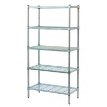 Mantova 5 Tier Zinc Lacquered Post Style Shelving With Wire Shelves - 900mmL x 600mmW x 2000mmH