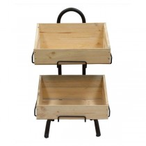 Mobile Stand With 2 Slanted Wooden Crates 880 x 370 x 400mm