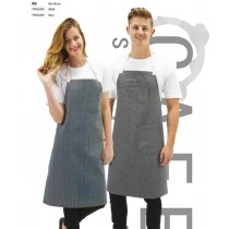 Pro Chef Apron Bib Cafe Series W/Buckle 86 x 100cm Black/White Stripe