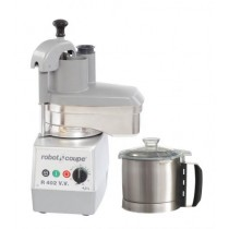 • Metal motor base • 4.5 litre stainless steel cutter/mixer bowl • Polycarbonate vegetable head attachment with stainless steel base & chute • Large half moon shape hopper area 104cm² & 58mm diameter round hopper • Variable speed motor from 300 to 3000rpm