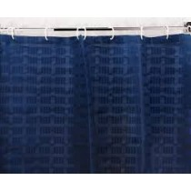 Image of Shower Curtain Navy Box Stripe 100% Poly Weighted 180 x 210cm