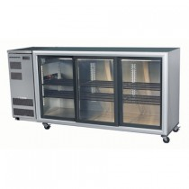 SKOPE BACKBAR BB580 U/COUNTER FRIDGE INTEGRAL STAINLESS STEEL 3 SWING DOORS