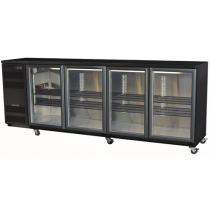 Skope Backbar BB780X-4SW U/Counter Fridge R/H LED R134A 4 Door Black