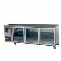 Image of Skope Slimline CC500 U/Counter Fridge Integral Black 3 Glass Doors