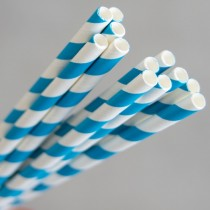Straw Paper 205mm Blue/White Swirl 250/Pkt