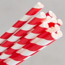 Straw Paper 205mm Red/White Swirl 250/Pkt